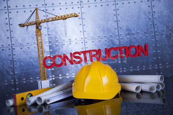 Bâtiments construction bâtiment grue blueprints affaires Photo stock © JanPietruszka