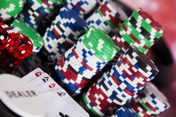 Roulette tavola casino poker chips divertimento Foto d'archivio © JanPietruszka