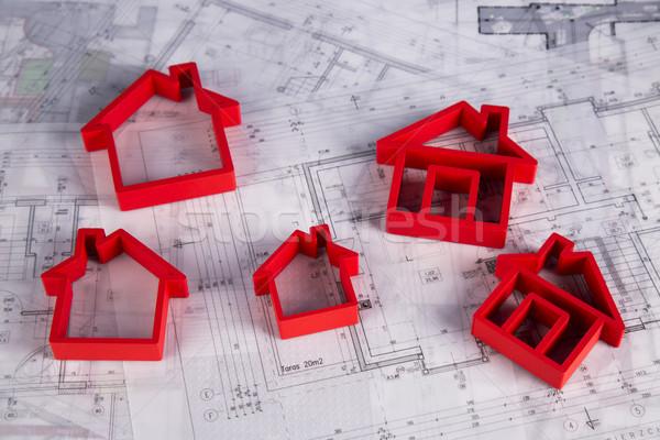 House under construction, blueprints concept Stock photo © JanPietruszka