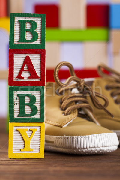 Baby block, toys collection on colorful background Stock photo © JanPietruszka