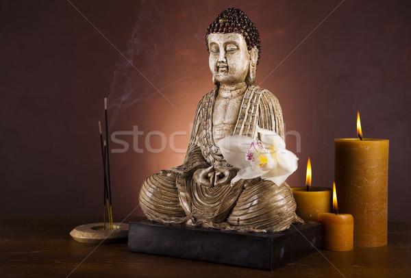Buddha szobor meditáció nap füst pihen Stock fotó © JanPietruszka