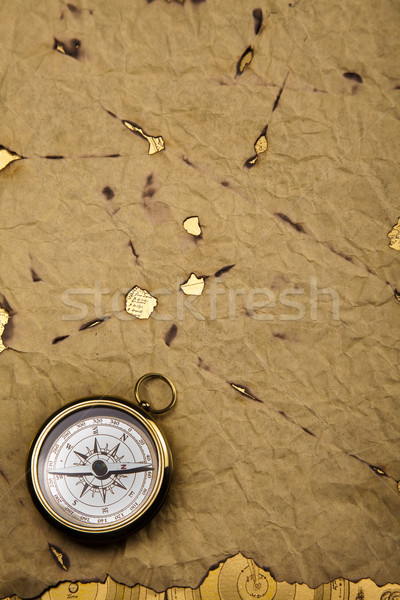 Oude stijl kompas papier kaart achtergrond Stockfoto © JanPietruszka