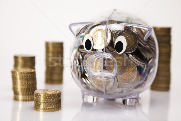 Photo stock: Porc · banque · argent · pièce · boîte · Finance