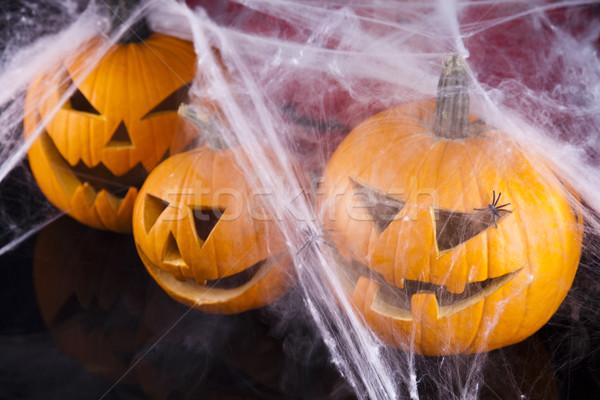 Halloween background with web and spider,pumpkin  Stock photo © JanPietruszka