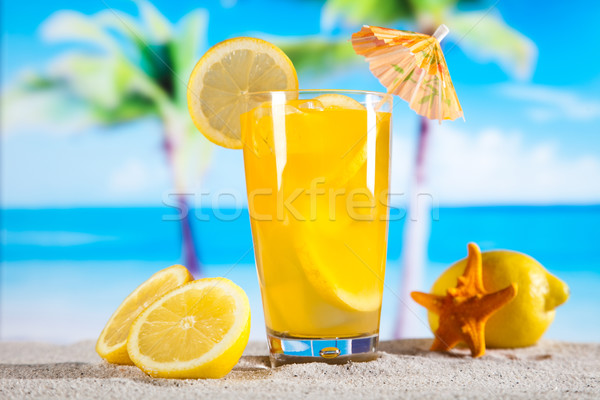 Alcohol drinks, beach background, natural colorful tone Stock photo © JanPietruszka