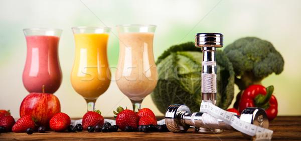 Tej sport fitnessz gyümölcs egészség zöld Stock fotó © JanPietruszka