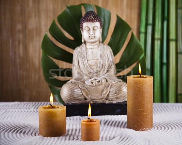 Buddha bougie soleil fumée détendre culte Photo stock © JanPietruszka