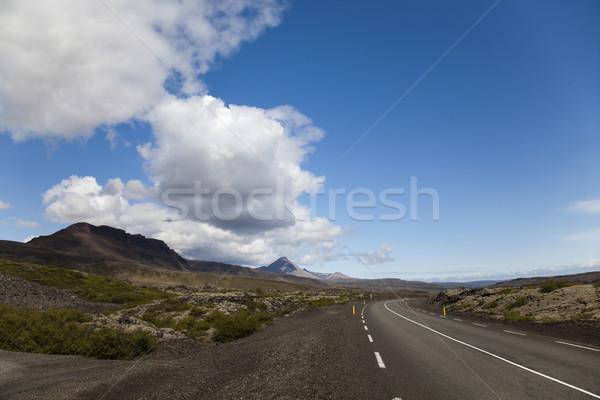 Manzaralı yol İzlanda gökyüzü çim manzara Stok fotoğraf © JanPietruszka