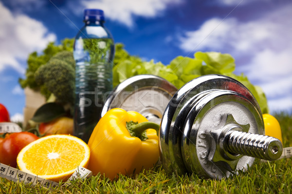 Fitness Food and green grass Stock photo © JanPietruszka