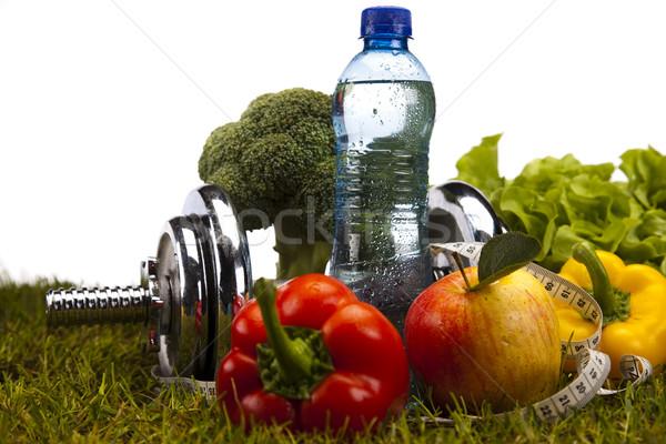 Foto stock: Fitness · comida · grama · verde · saúde · energia · gordura