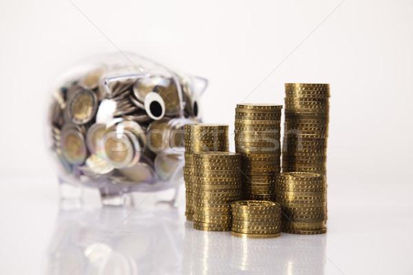 Photo stock: Affaires · porc · banque · argent · pièce · boîte