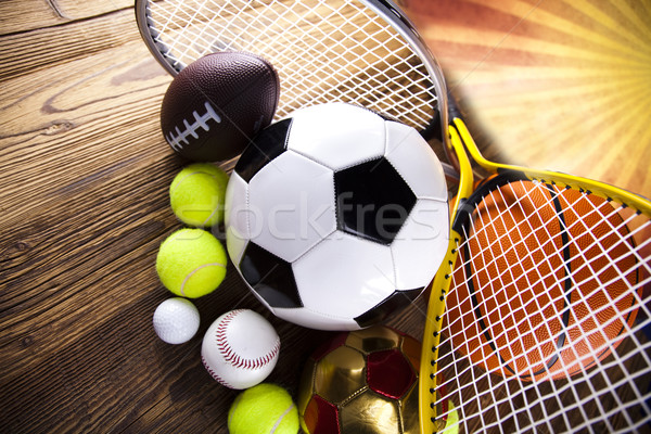 Groupe équipements sportifs golf football sport tennis Photo stock © JanPietruszka