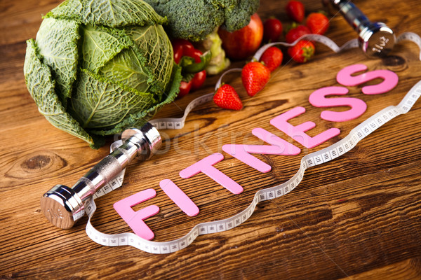 Vitamin and Fitness diet, dumbbell Stock photo © JanPietruszka