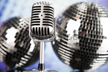 Retró stílus mikrofon zene diszkó kő dzsessz Stock fotó © JanPietruszka