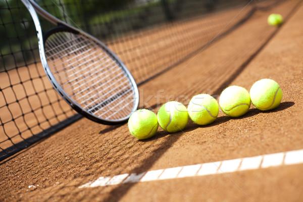 Tennis racket and balls, court Stock photo © JanPietruszka
