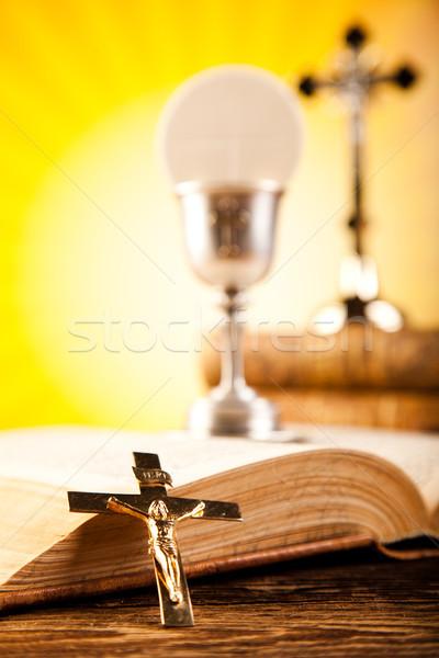 Szent úrvacsora fényes könyv Jézus templom Stock fotó © JanPietruszka
