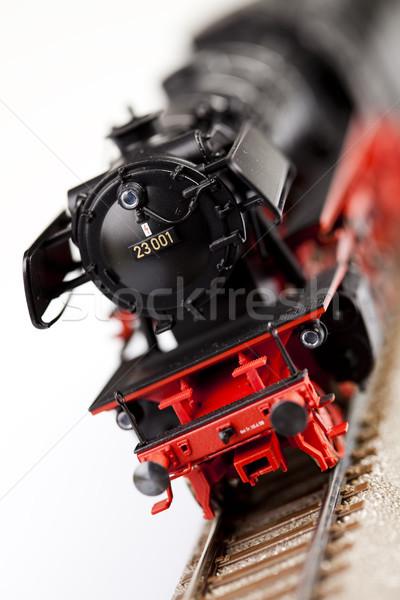 Oude locomotief heldere kleurrijk speelgoed Stockfoto © JanPietruszka