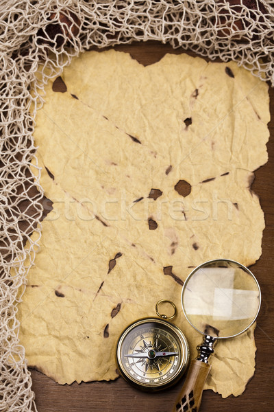 Kompas oud papier papier kaart achtergrond reizen Stockfoto © JanPietruszka