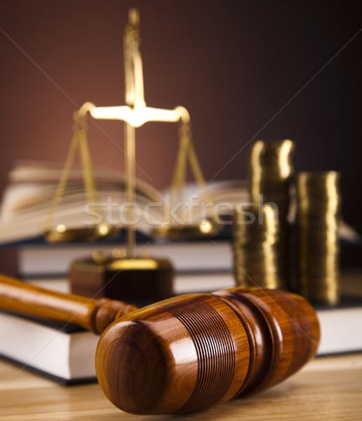 Droit justice bois marteau blanche juge Photo stock © JanPietruszka