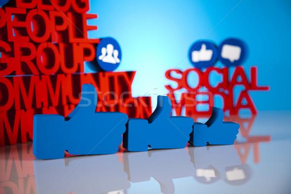 Wie Internet Computer Zeichen blau cool Stock foto © JanPietruszka