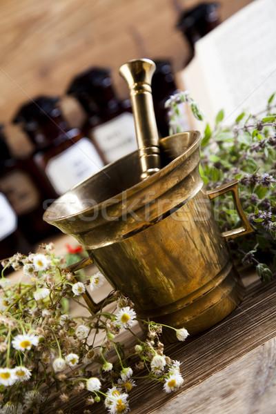 ストックフォト: 薬 · ボトル · ハーブ · 自然 · カラフル · 自然