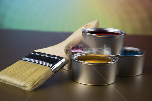 Fırça boya kalay can renk rehberlik Stok fotoğraf © JanPietruszka