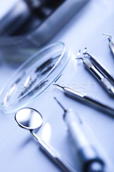 Zahnmedizin zahnärztliche Werkzeuge Medizin Spiegel Tool Stock foto © JanPietruszka