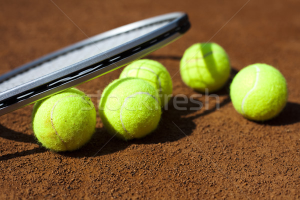 Tennis racket and balls, court Stock photo © JanPietruszka