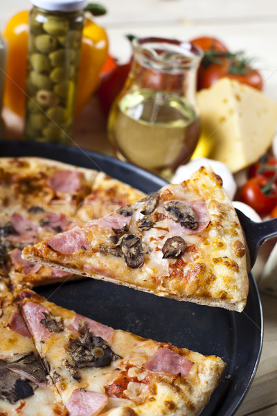 Fresh pizza, tasty natural food theme Stock photo © JanPietruszka