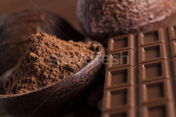 Doce doce cacau feijões pó Foto stock © JanPietruszka