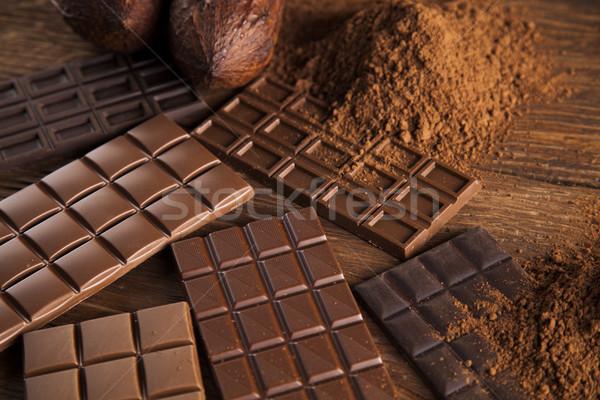 Csokoládé szelet cukorka édes kakaó bab por Stock fotó © JanPietruszka