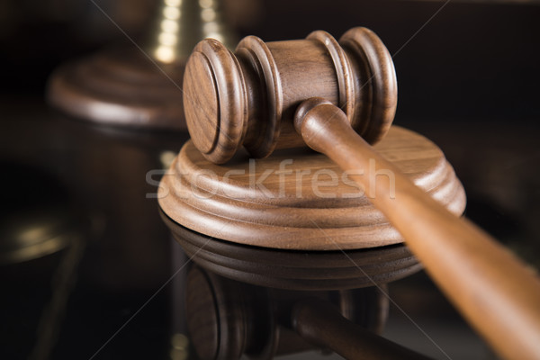 Law theme, mallet of the judge, justice scale, mirror reflection Stock photo © JanPietruszka