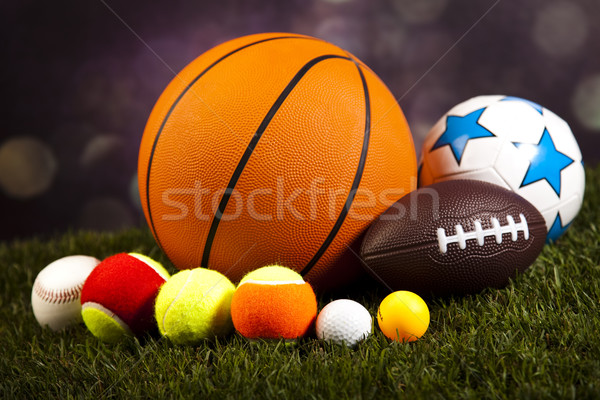 Assorted sports equipment, natural colorful tone Stock photo © JanPietruszka