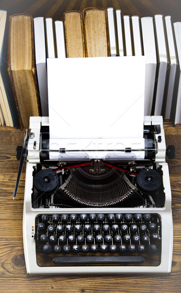 Old retro typewriter on wooden desk Stock photo © JanPietruszka