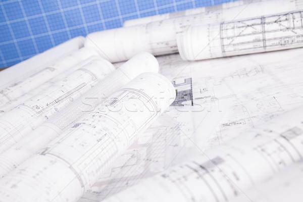 Rolls of architecture blueprints concept Stock photo © JanPietruszka