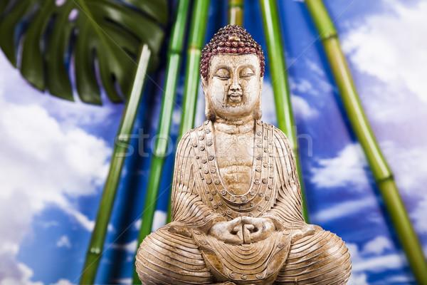 Csendélet Buddha szobor bambusz nap füst Stock fotó © JanPietruszka