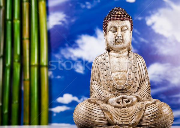 Stock foto: Still-Leben · buddha · Statue · Bambus · Sonne · Rauch