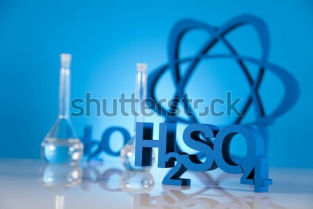 Stock photo:  Atom, Molecules model, Laboratory glassware