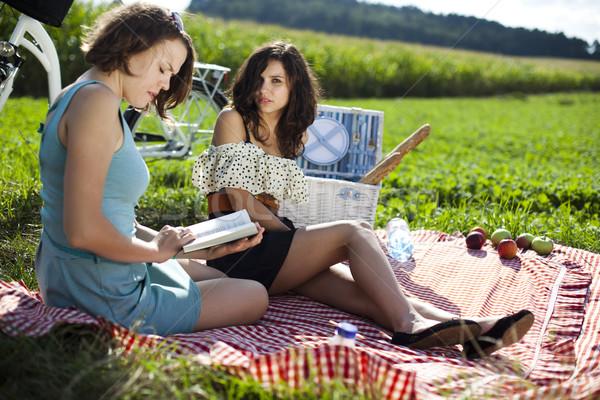 Piknik yaz serbest zaman kız ağaç mutlu Stok fotoğraf © JanPietruszka