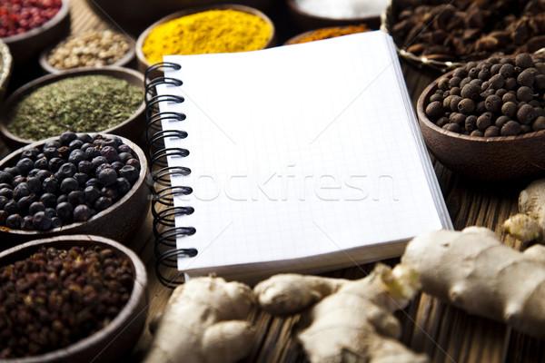 Książka kucharska różny przyprawy kuchnia żywy żywności Zdjęcia stock © JanPietruszka