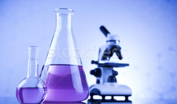 Laboratorio lavoro luogo microscopio cristalleria istruzione Foto d'archivio © JanPietruszka