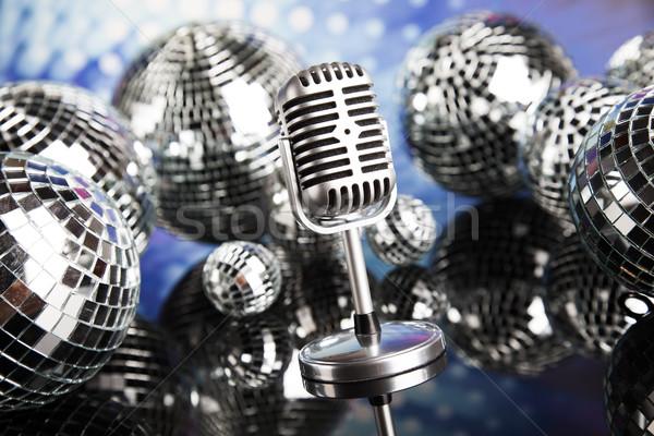 Disco ball mikrofon muzyki w stylu retro dźwięku fale Zdjęcia stock © JanPietruszka