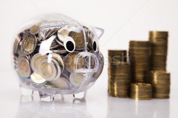 Pig bank and money coin Stock photo © JanPietruszka