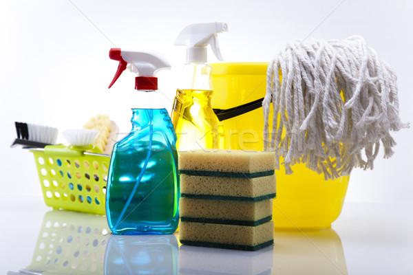 Conjunto produtos de limpeza trabalhar casa garrafa vermelho Foto stock © JanPietruszka