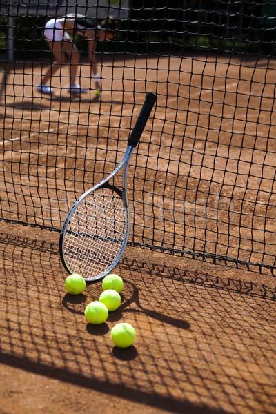 Tennisracket rechter achtergrond spelen spel Stockfoto © JanPietruszka