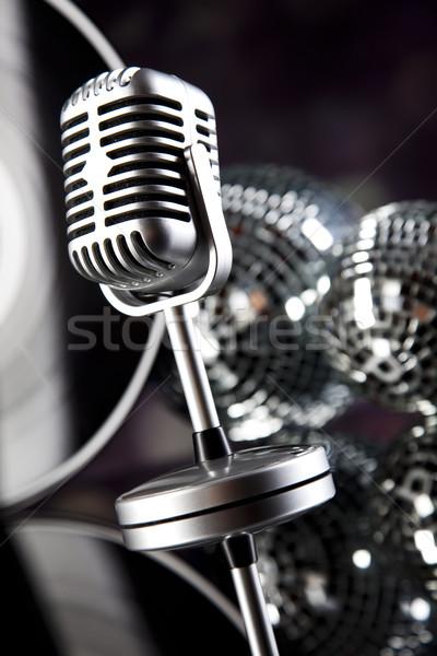 Muzyki mikrofon disco rock jazz vintage Zdjęcia stock © JanPietruszka