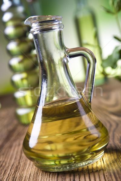 Carafe with olive oil, Mediterranean rural theme Stock photo © JanPietruszka