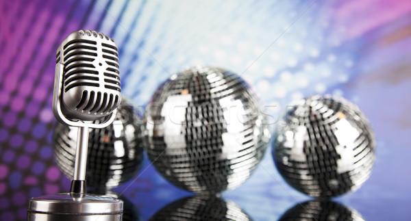 Vintage microphone and Music background Stock photo © JanPietruszka