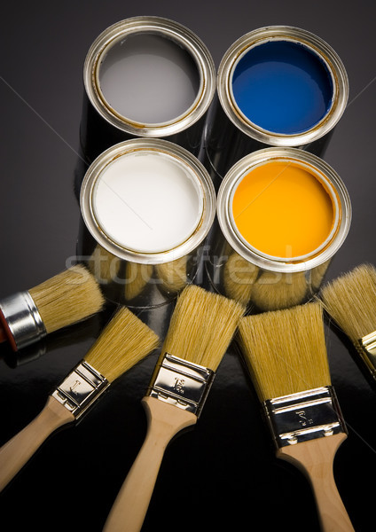 Stock photo: Paint, cans, brush, bright colorful tone concept