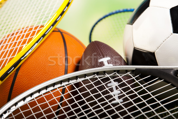Sportartikelen detail natuurlijke kleurrijk sport voetbal Stockfoto © JanPietruszka